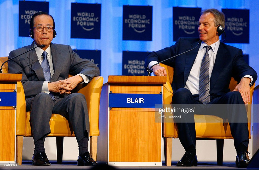Yasuo Fukuda, Prime Minister of Japan, and former British Prime Minister and current UN Middle East envoy, Tony Blair, attend the fourth day of the World Economic Forum January 26, 2008 in Davos, Switzerland. Some of the World's top business people, heads of state and representatives of NGOs will meet at the forum until Sunday.