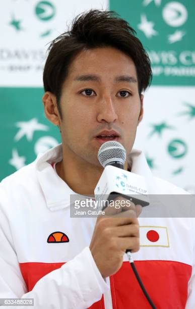 Yasutaka Uchiyama of Japan attends a press conference following the official draw ceremony ahead of the World Group Davis Cup tie between Japan and...
