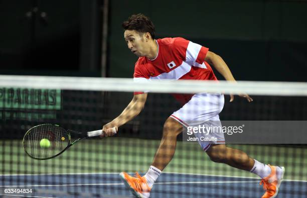 Yasutaka Uchiyama of Japan practices ahead of the World Group Davis Cup tie between Japan and France at Ariake Colosseum on February 2 2017 in Tokyo...