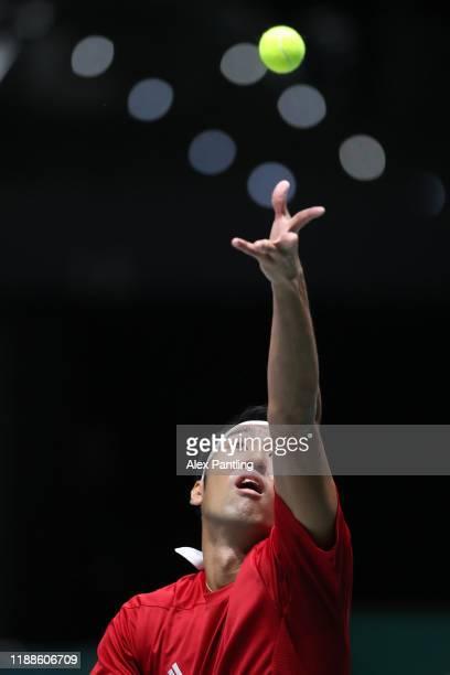 Yasutaka Uchiyama of Japan serves during Day 2 of the 2019 Davis Cup at La Caja Magica on November 19 2019 in Madrid Spain