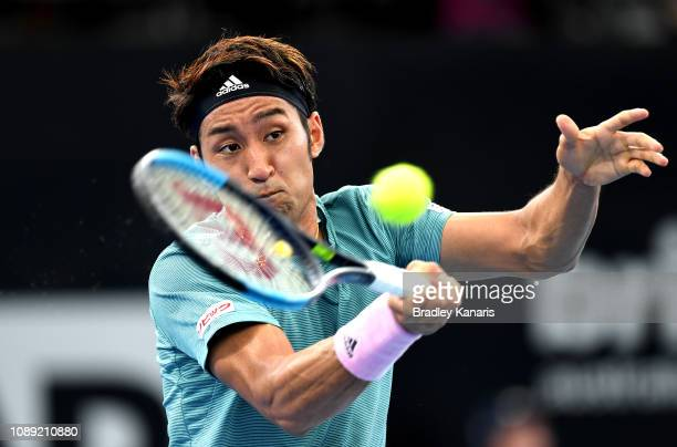 Yasutaka Uchiyama of Japan serves in his match against Jeremy Chardy of France during day five of the 2019 Brisbane International at Pat Rafter Arena...