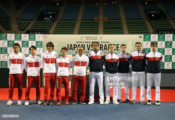 Yasutaka Uchiyama Yuichi Sugita Yoshihito Nishioka Daniel Taro captain of Team Japan Minoru Ueda captain of Team France Yannick Noah Richard Gasquet...