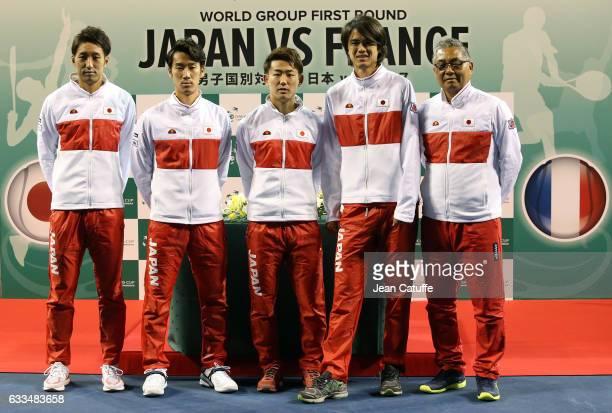 Yasutaka Uchiyama Yuichi Sugita Yoshihito Nishioka Daniel Taro captain of Team Japan Minoru Ueda pose during the official draw ceremony ahead of the...