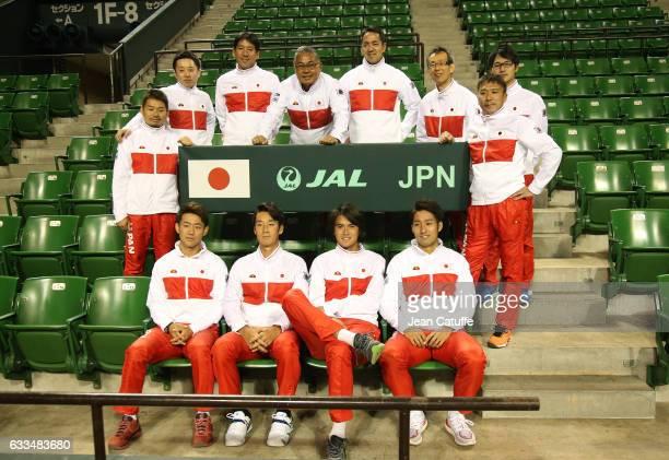 Yasutaka Uchiyama Yuichi Sugita Yoshihito Nishioka Daniel Taro captain of Team Japan Minoru Ueda and staff pose following the official draw ceremony...