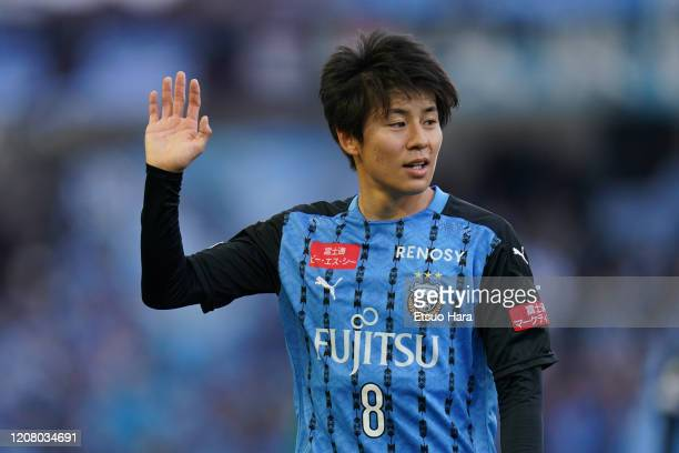 Yasuto Wakizaka of Kawasaki Frontale reacts during the JLeague MEIJI YASUDA J1 match between Kawasaki Frontale and Sagan Tosu at Todoroki Stadium on...