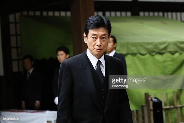 Yasutoshi Nishimura member of the House of Representatives acting as a special representative of Prime Minister Shinzo Abe visits the Yasukuni Shrine...