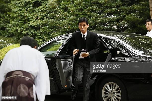 Yasutoshi Nishimura member of the House of Representatives acting as a special representative of Prime Minister Shinzo Abe arrives at the Yasukuni...