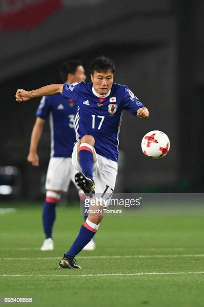 Yasuyuki Konno of Japan controls the ball during the international friendly match between Japan and Syria at Tokyo Stadium on June 7 2017 in Chofu...