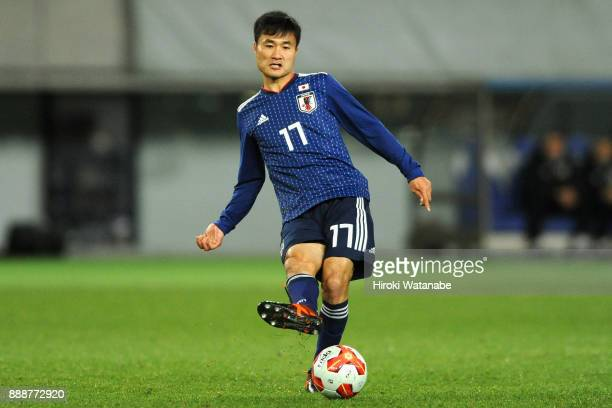 Yasuyuki Konno of Japan in action during the EAFF E1 Men's Football Championship between Japan and North Korea at Ajinomoto Stadium on December 9...