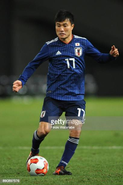 Yasuyuki Konno of Japan in action during the EAFF E1 Men's Football Championship between Japan and China at Ajinomoto Stadium on December 12 2017 in...