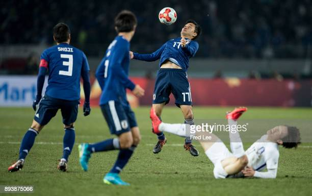 Yasuyuki of Japan in action during the EAFF E1 Men's Football Championship between Japan and South Korea at Ajinomoto Stadium on December 16 2017 in...