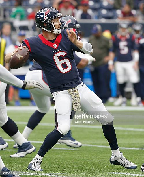 J Yates of the Houston Texans in the pocket against the New York Jets on November 22 2015 at NRG Stadium in Houston Texas