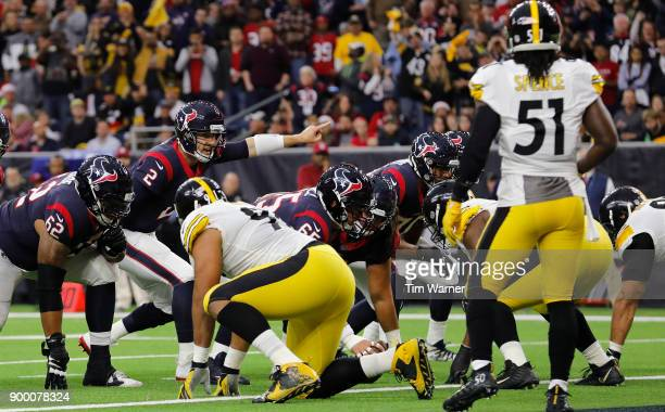 J Yates of the Houston Texans signals at the line of scrimmage in the first half against the Pittsburgh Steelers at NRG Stadium on December 25 2017...