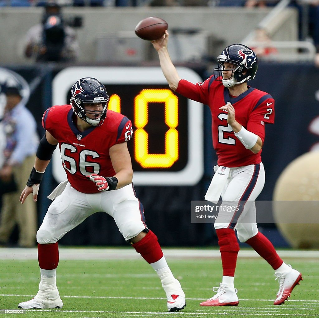 T.J. Yates #2 of the Houston Texans throws a pass as Nick Martin #66 protects against the San Francisco 49ers at NRG Stadium on December 10, 2017 in Houston, Texas.
