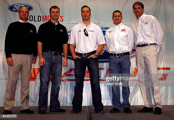 Yates Racing owner Max Jones driver Travis Kvapil Paul Menard Bobby Labonte and owner Doug Yates pose during the NASCAR Sprint Media Tour hosted by...