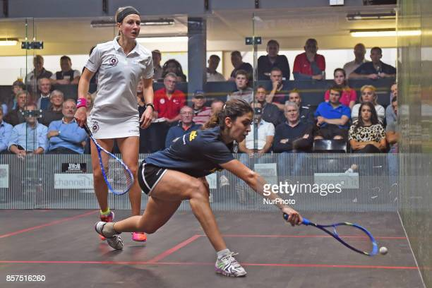 Yathreb Adel picks up a drop shot during the Premier League Round One match between StGeorge's and RAC Yathreb Adel against Alison Waters at St...