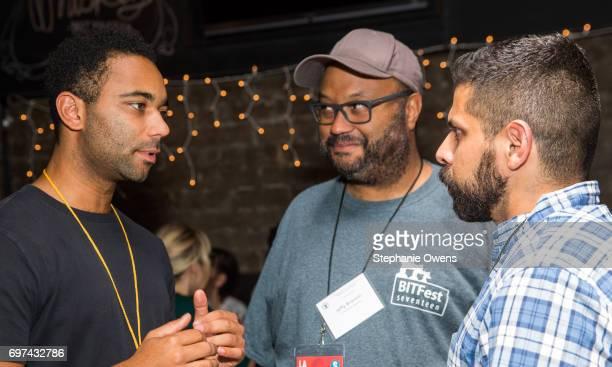 Yatri N Niehaus Jeffy Branion Associate Features Programmer and Cristhian Barron Associate Features Programmer attend the DGA Reception during 2017...