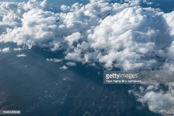Yatsugatake Mountains in Nagano prefecture in Japan daytime aerial view from airplane