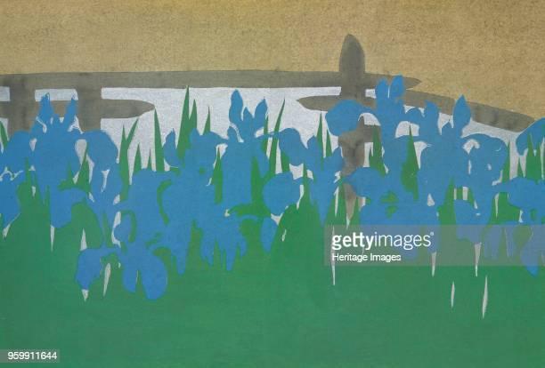 YatsuHashi fromMomoyogusa The World of Things Vol I pub1909 colour block woodcut Eight Folded Bridge