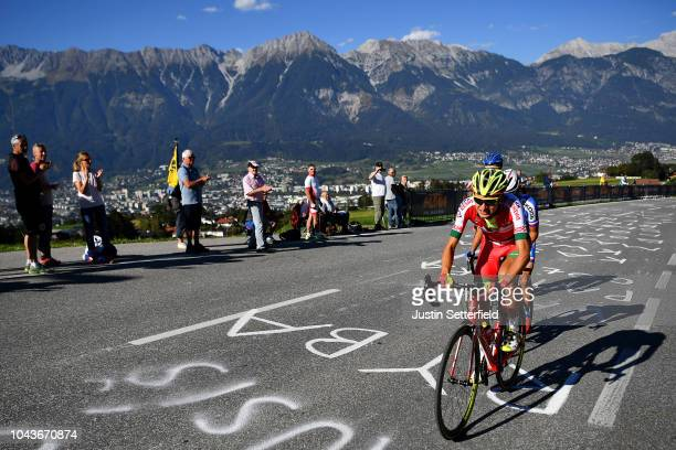 Yauhen Sobal of Belarus / Mountains / during the Men Elite Road Race a 2585km race from Kufstein to Innsbruck 582m at the 91st UCI Road World...