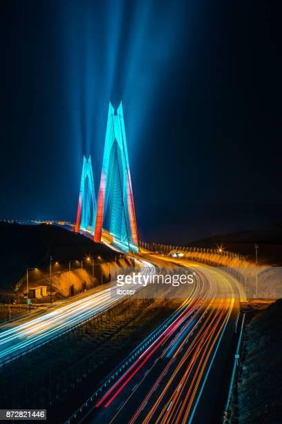 yavuz sultan selim bridge, istanbul, turkey - contemporary istanbul foto e immagini stock