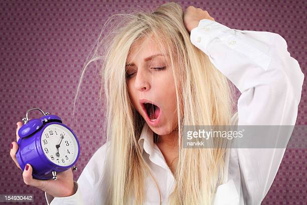 Yawning Young Girl in the Morning