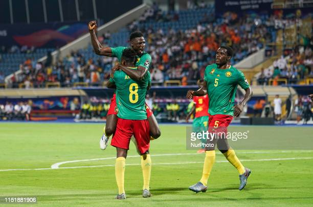 Yaya Banana of Cameroon celebrating scoring to 1-0 during the 2019 African Cup of Nations match between Cameroon and Guinea-Bissau at the Ismailia...