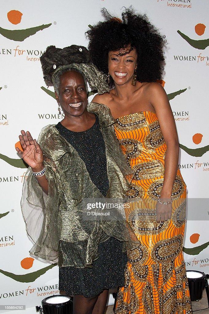 Yaya DaCosta (R) and mother Orundun DaCosta Johnson attend the 2012 Women For Women International gala at Koch Theater, Lincoln Center on November 8, 2012 in New York City.