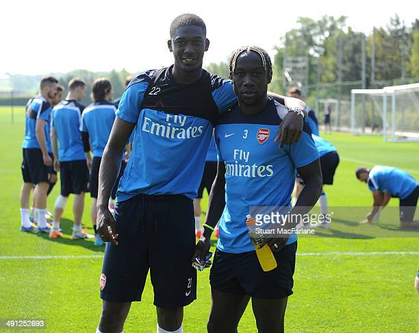Yaya Sanogo and Bacary Sagna of Arsenal pose before a training session at London Colney on May 16 2014 in St Albans England