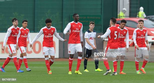 Yaya Sanogo celebrates scoring a goal for Arsenal during the match between Arsenal U23 and Tottenham Hotspur U23 at London Colney on March 3 2017 in...