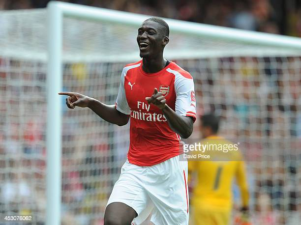 Yaya Sanogo celebrates scoring his 2nd goal Arsenal's 3rd during the Emirates Cup match between Arsenal and Benfica at Emirates Stadium on August 2...
