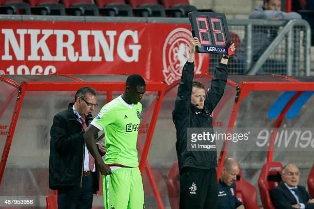 Yaya Sanogo of Ajax Referee Allard Lindhout during the Dutch Eredivisie match between FC Twente and Ajax Amsterdam at the Grolsch Veste on September...