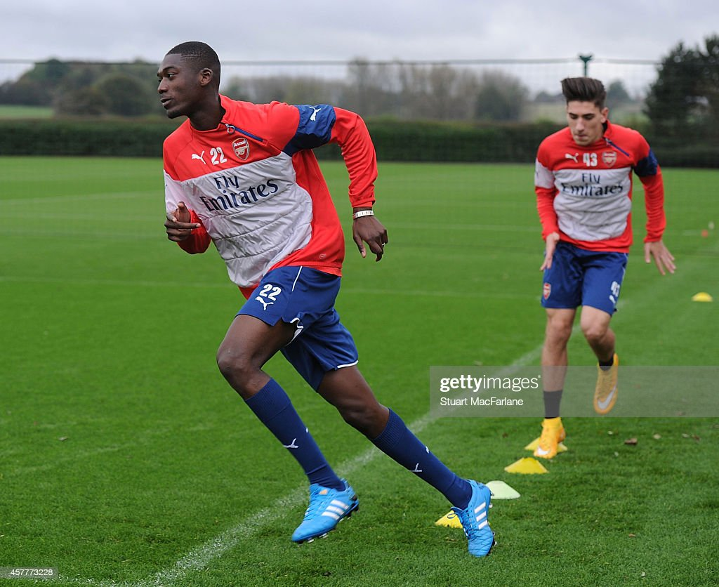 Yaya Sanogo of Arsenal attends a training session at London Colney on October 24, 2014 in St Albans, England.