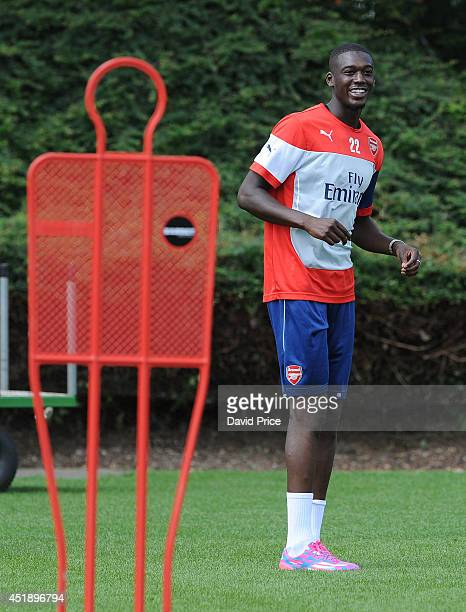 Yaya Sanogo of Arsenal during a training session at London Colney on July 9 2014 in St Albans England