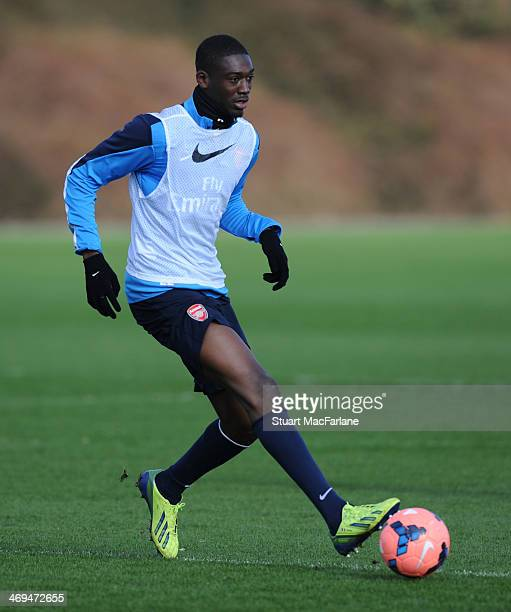 Yaya Sanogo of Arsenal during a training session at London Colney on February 15 2014 in St Albans England