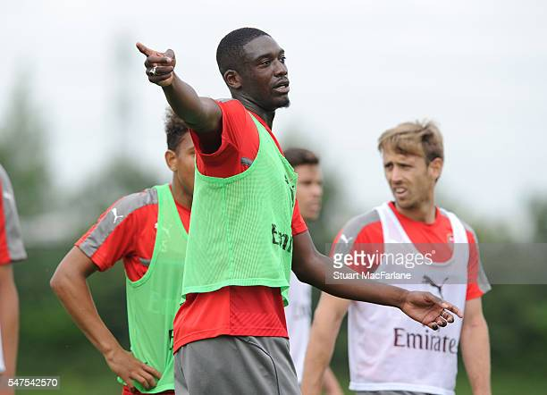 Yaya Sanogo of Arsenal during a training session at London Colney on July 15, 2016 in St Albans, England.