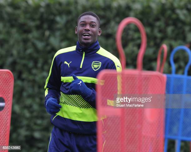 Yaya Sanogo of Arsenal during a training session at London Colney on February 13, 2017 in St Albans, England.