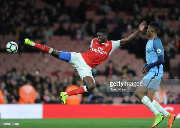 Yaya Sanogo of Arsenal during match between Arsenal and Manchester City at Emirates Stadium on March 13, 2017 in London, England.