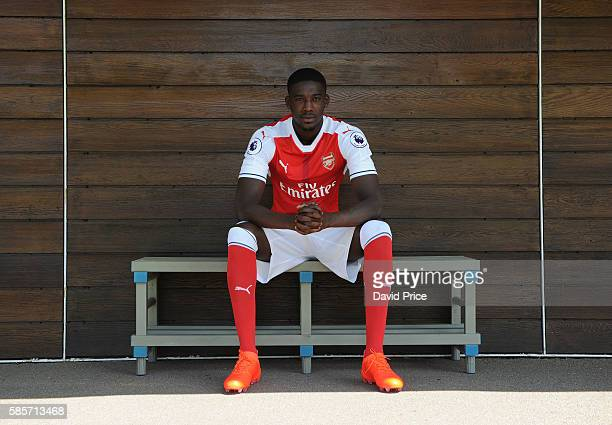 Yaya Sanogo of Arsenal during the Arsenal 1st team photocall at London Colney on August 3, 2016 in St Albans, England.