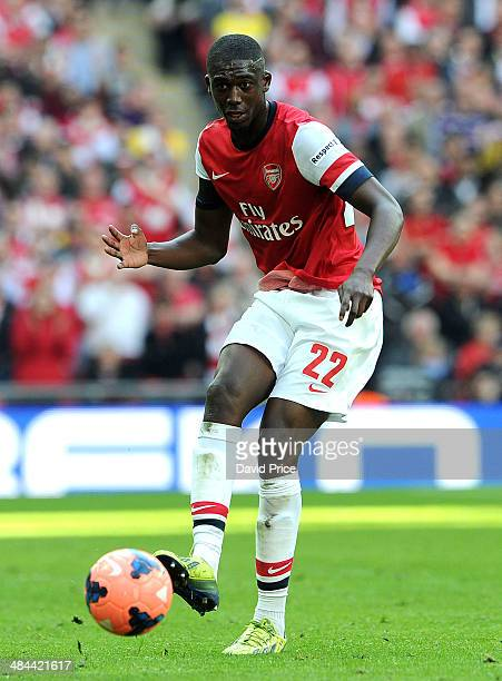 Yaya Sanogo of Arsenal during the match between Arsenal and Wigan Athletic in the FA Cup Semi Final at Wembley Stadium on April 12 2014 in London...