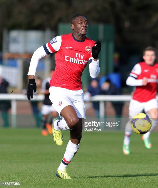 Yaya Sanogo of Arsenal during the match between Arsenal U21 and Southampton U21 in the Barclays U21 League at London Colney on February 7 2014 in St...