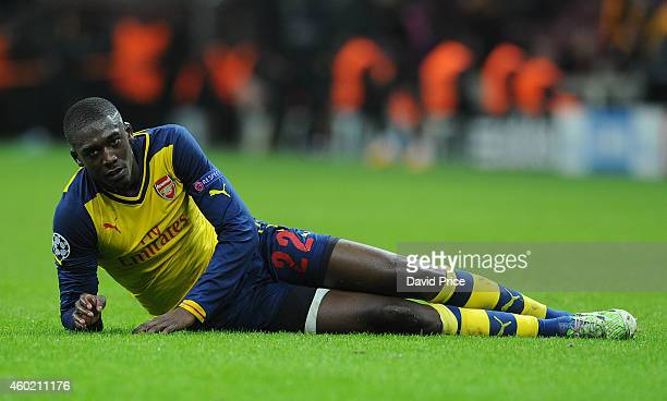 Yaya Sanogo of Arsenal during the match between Galatasaray and Arsenal in the UEFA Champions League on December 9, 2014 in Istanbul, Turkey.