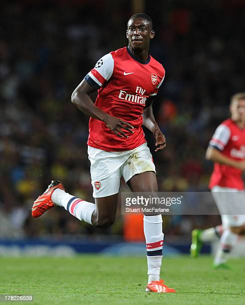 Yaya Sanogo of Arsenal during the UEFA Champions League Play Off Second leg match between Arsenal FC and Fenerbahce SK at Emirates Stadium on August...