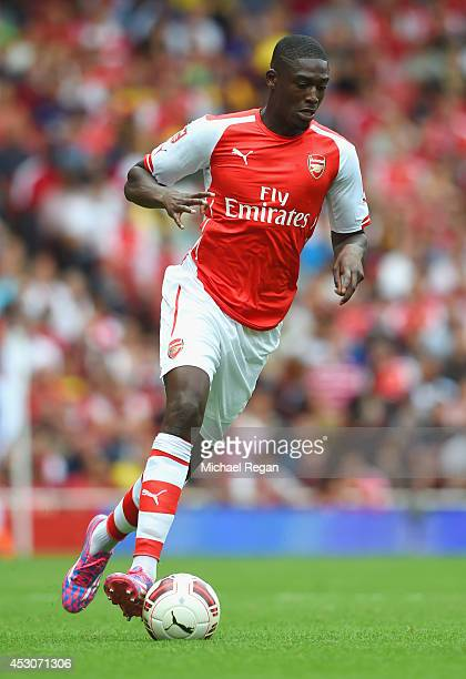 Yaya Sanogo of Arsenal in action during the Emirates Cup match between Arsenal and Benfica at the Emirates Stadium on August 2 2014 in London England