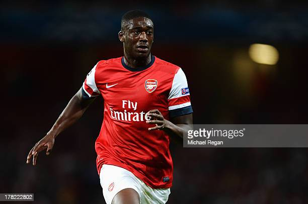 Yaya Sanogo of Arsenal in action during the UEFA Champions League Play Off Second leg match between Arsenal FC and Fenerbahce SK at Emirates Stadium...