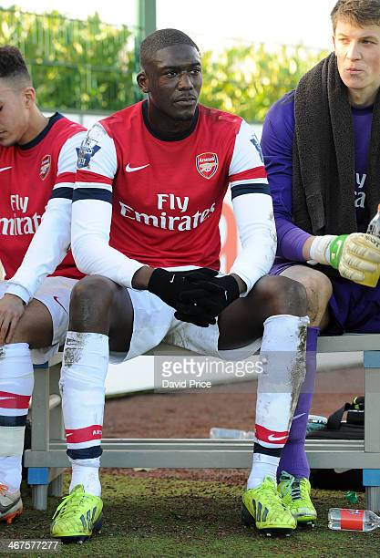 Yaya Sanogo of Arsenal relaxes during half time of the match between Arsenal U21 and Southampton U21 in the Barclays U21 League at London Colney on...