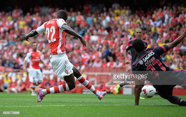 Yaya Sanogo of Arsenal scores his fourth goal during the Emirates Cup match between Arsenal and Benfica at the Emirates Stadium on August 2 2014 in...