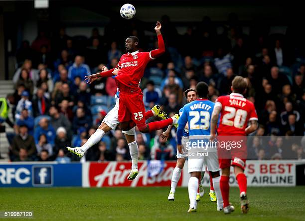 Yaya Sanogo of Charlton Athletic wins a header during the Sky Bet Championship match between Queens Park Rangers and Charlton Athletic at Loftus Road...