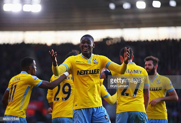 Yaya Sanogo of Crystal Palace celebrates as Marouane Chamakh scores their third goal during the FA Cup Fourth Round match between Southampton and...