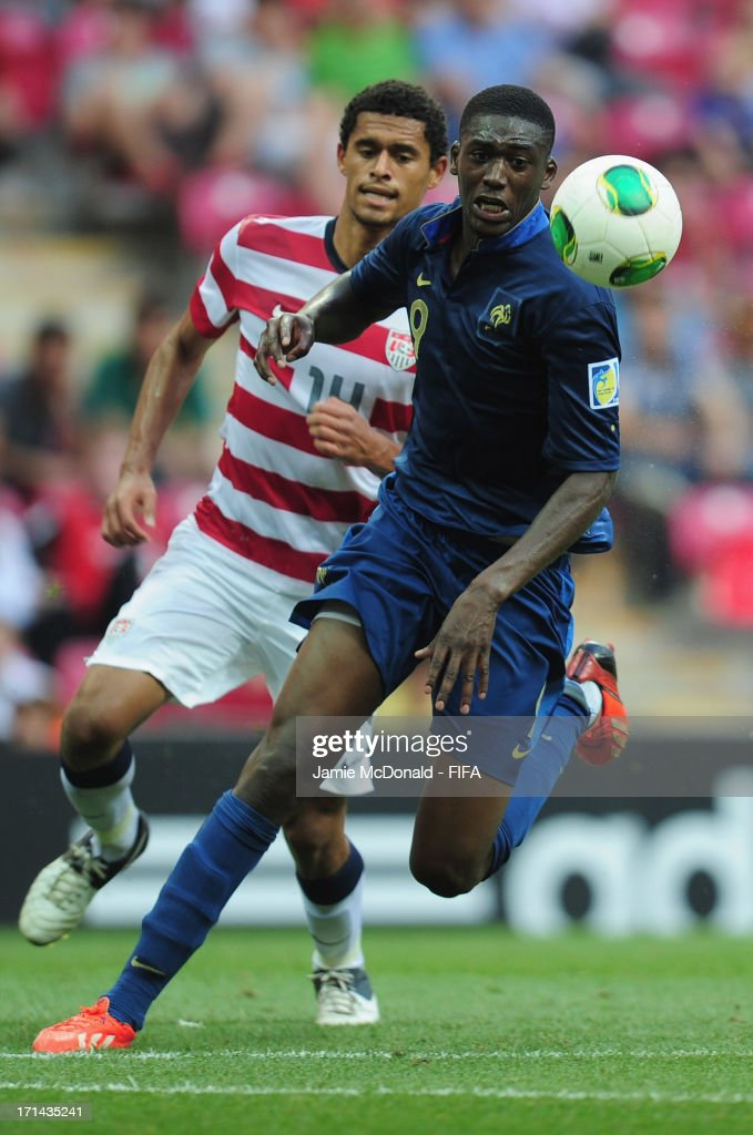 Yaya Sanogo of France battles with Javan Torre of USA during the FIFA U-20 World Cup Group A match between France and USA at the Ali Sami Yen Arena on June 24, 2013 in Istanbul, Turkey.